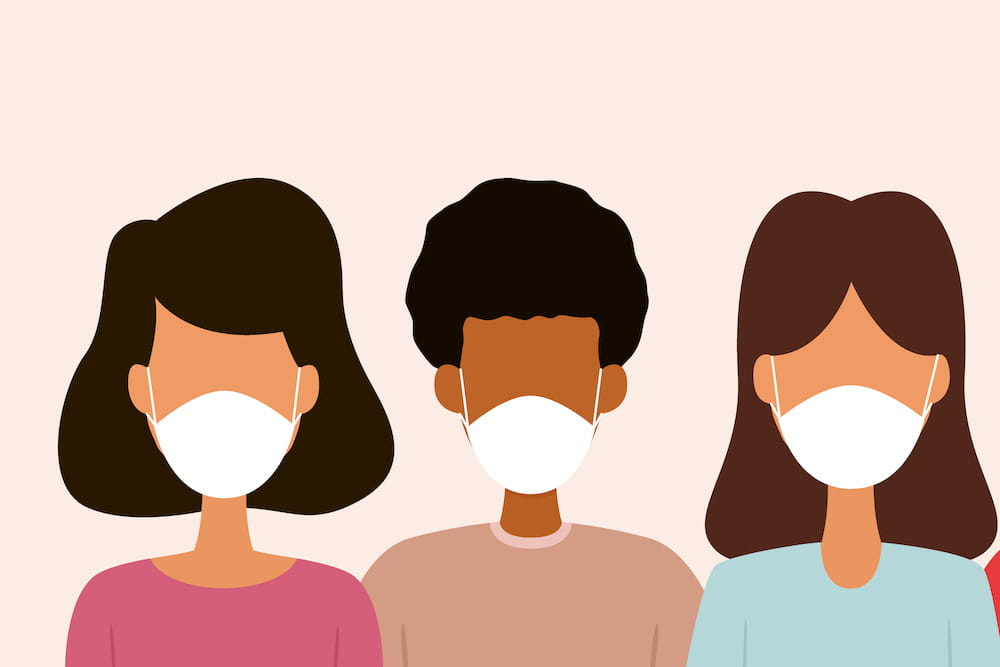 Group of people wearing mask. Vector illustration by nazarkru. Licensed from istockphoto.com