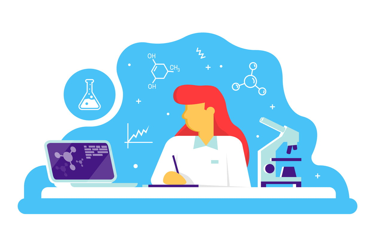 Scientific doctor woman working at science lab. Laboratory interior, with microscope and lab laptop. Vector. Scientific research concept in flat style.Work in medical chemical or biological lab.