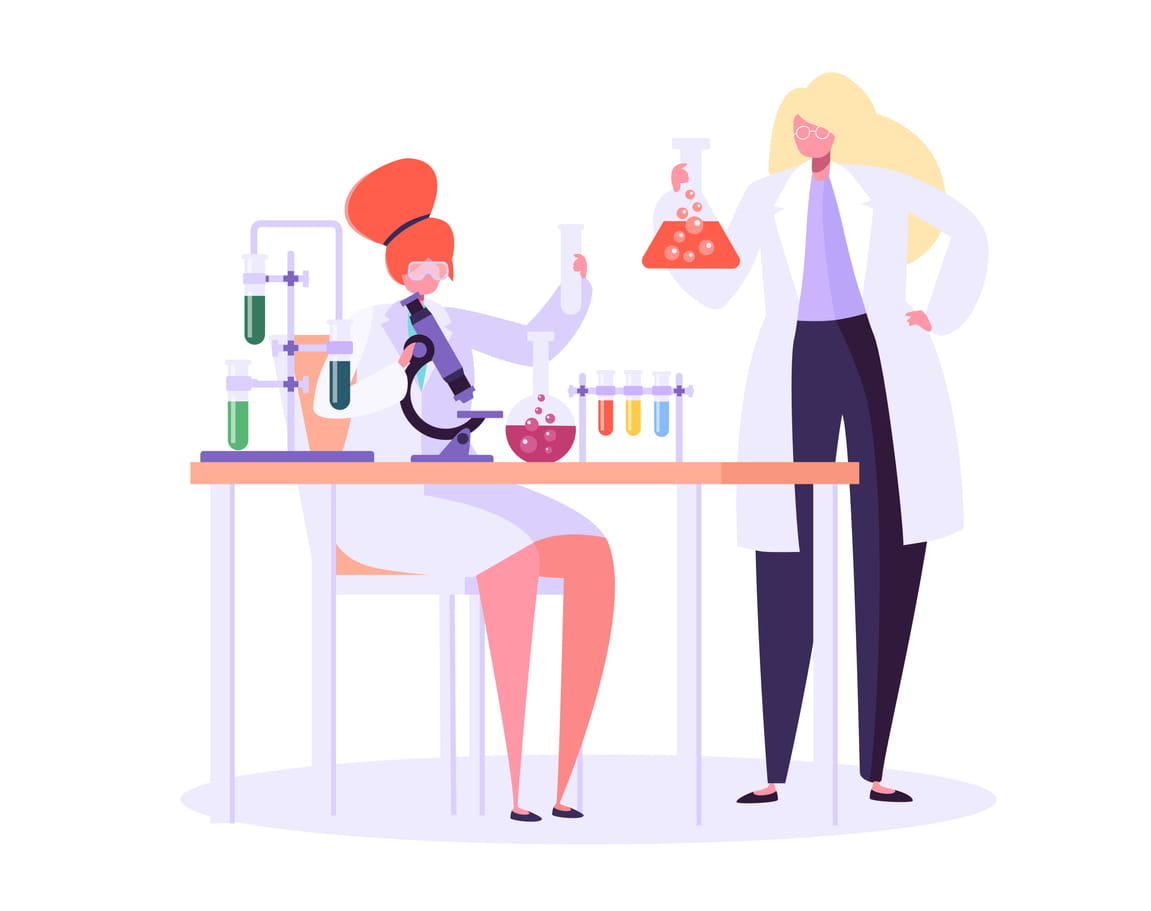 Scientist Characters Working in Chemistry Lab with Medical Equipment Microscope, Flask, Tube.